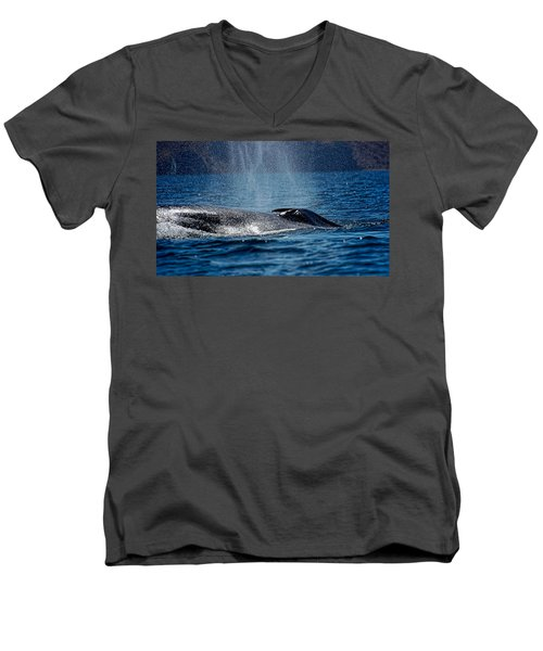 Men's V-Neck T-Shirt featuring the photograph Fin Whale Spouting by Don Schwartz