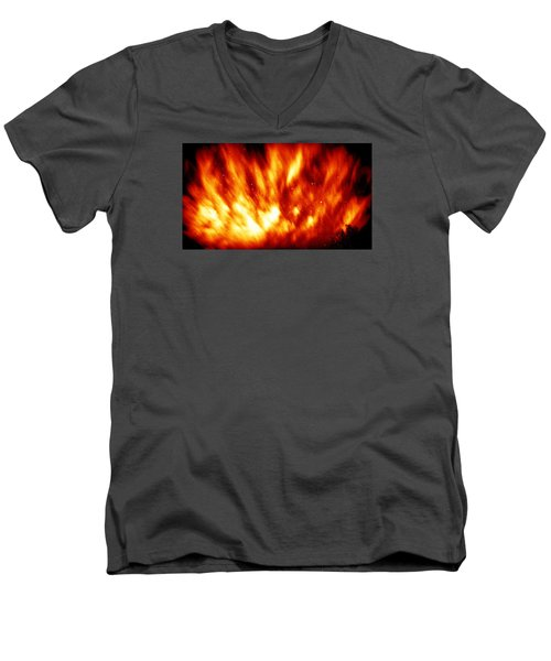 Fire In The Starry Sky Men's V-Neck T-Shirt by Paul  Wilford