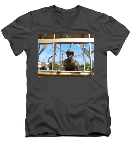 Men's V-Neck T-Shirt featuring the sculpture First In Flight  by Lydia Holly