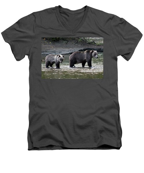Men's V-Neck T-Shirt featuring the photograph Fishing Lessons by Cathie Douglas