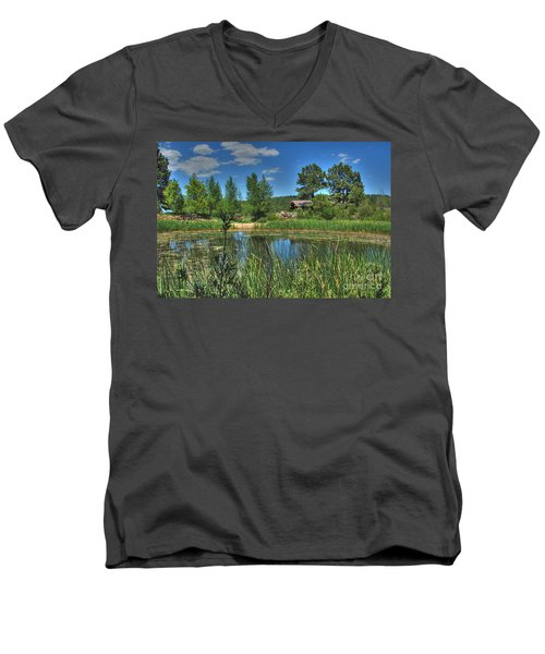 Men's V-Neck T-Shirt featuring the photograph Flagstaff by Tam Ryan