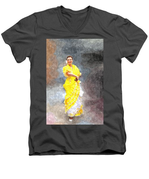Men's V-Neck T-Shirt featuring the photograph Flamenco Dancer In Yellow by Davandra Cribbie