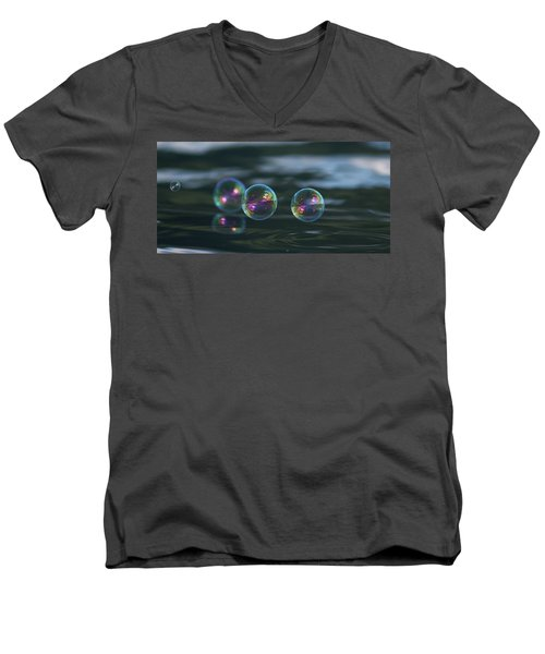 Men's V-Neck T-Shirt featuring the photograph Floating Bubbles by Cathie Douglas