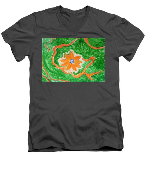 Men's V-Neck T-Shirt featuring the painting Floating Flower by Sonali Gangane