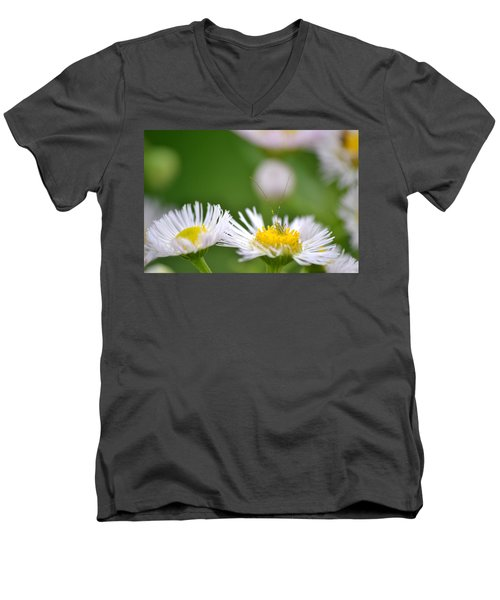 Men's V-Neck T-Shirt featuring the photograph Floral Launch-pad by JD Grimes