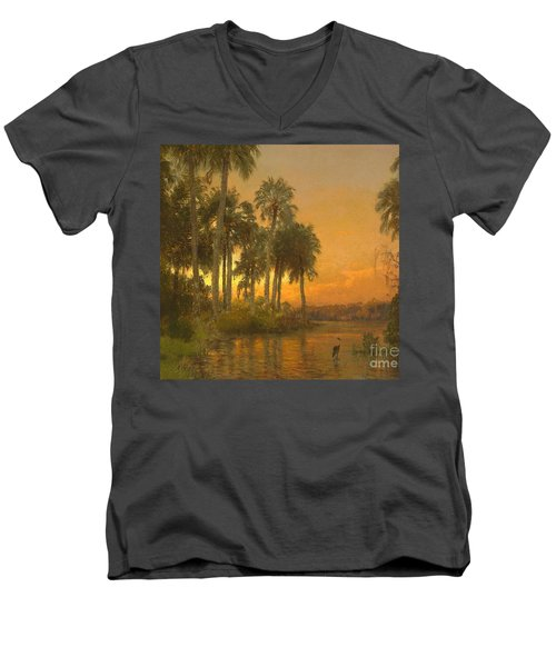 Florida Sunset Men's V-Neck T-Shirt by Pg Reproductions