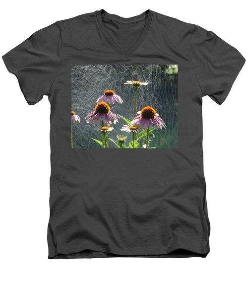 Flowers In The Rain Men's V-Neck T-Shirt by Randy J Heath
