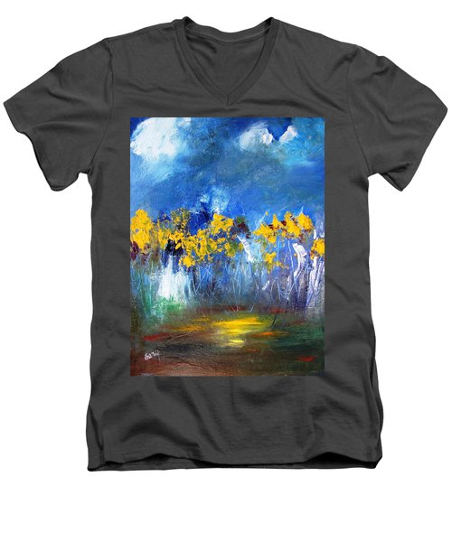 Flowers Of Maze In Blue Men's V-Neck T-Shirt by Gary Smith