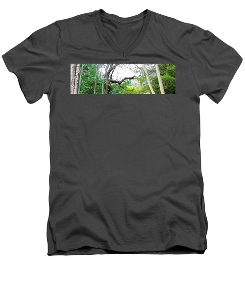 Men's V-Neck T-Shirt featuring the photograph Flying Branch by Pamela Hyde Wilson