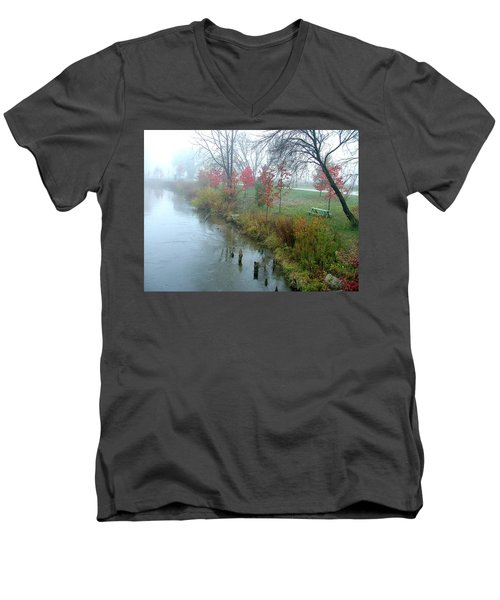 Fog On The Muskegon River Men's V-Neck T-Shirt