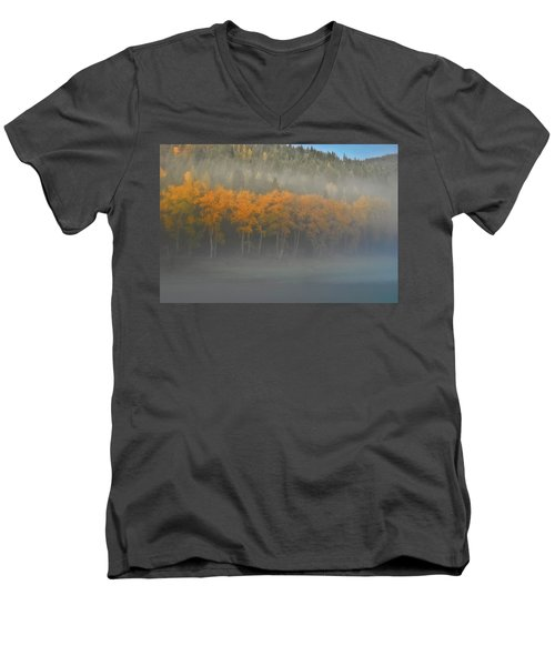 Men's V-Neck T-Shirt featuring the photograph Foggy Autumn Morning by Albert Seger