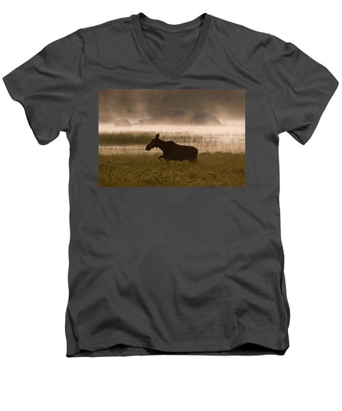 Foggy Stroll Men's V-Neck T-Shirt by Brent L Ander