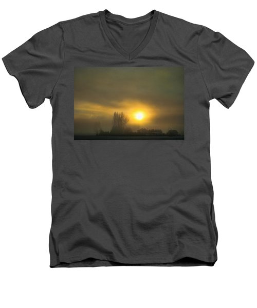 Foggy Sunrise Men's V-Neck T-Shirt by Charlie Duncan