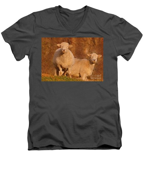 Men's V-Neck T-Shirt featuring the mixed media Follow by Lydia Holly