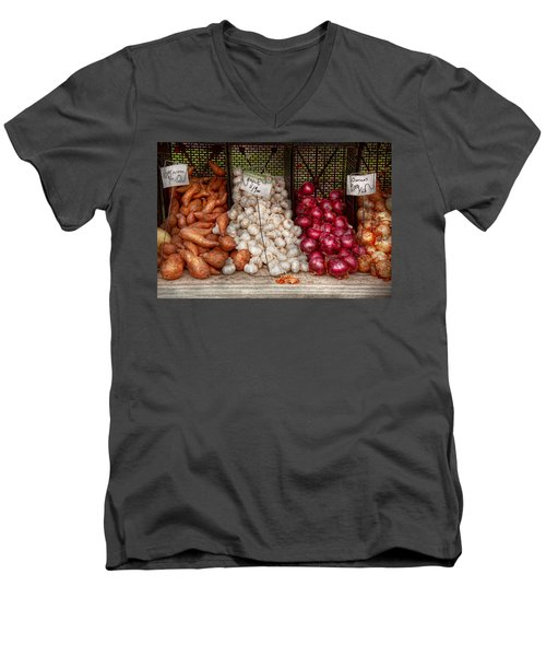 Food - Vegetable - Sweet Potatoes-garlic- And Onions - Yum  Men's V-Neck T-Shirt by Mike Savad