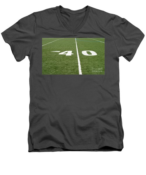 Men's V-Neck T-Shirt featuring the photograph Football Field Forty by Henrik Lehnerer