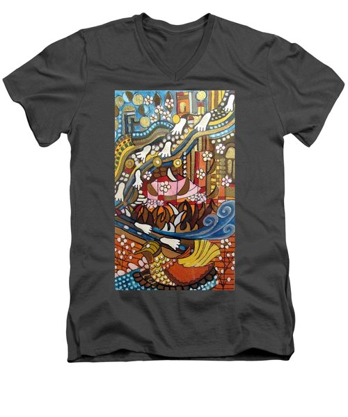 Footsteps To Peace Colorful Abstract Symbolism With Urban Cityscape Path Tracks Bird Dove Men's V-Neck T-Shirt by Rachel Hershkovitz