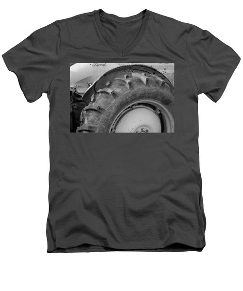 Men's V-Neck T-Shirt featuring the photograph Ford Tractor In Black And White by Jennifer Ancker