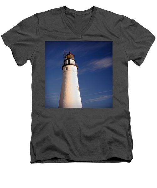 Men's V-Neck T-Shirt featuring the photograph Fort Gratiot Lighthouse by Gordon Dean II