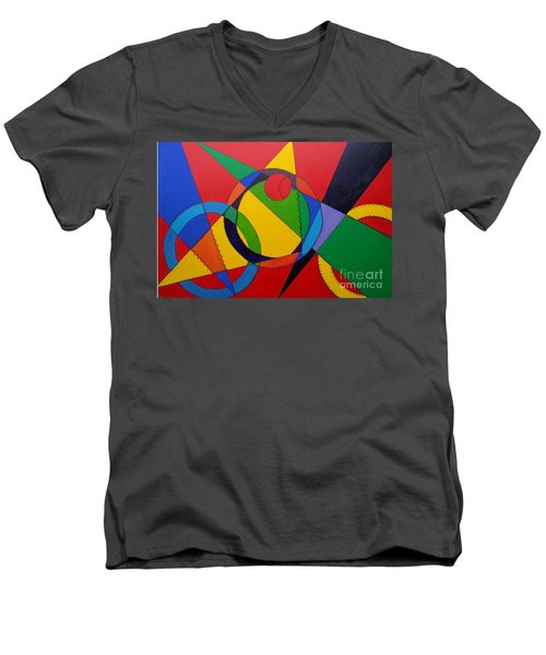 Men's V-Neck T-Shirt featuring the painting Frankenball by Julie Brugh Riffey