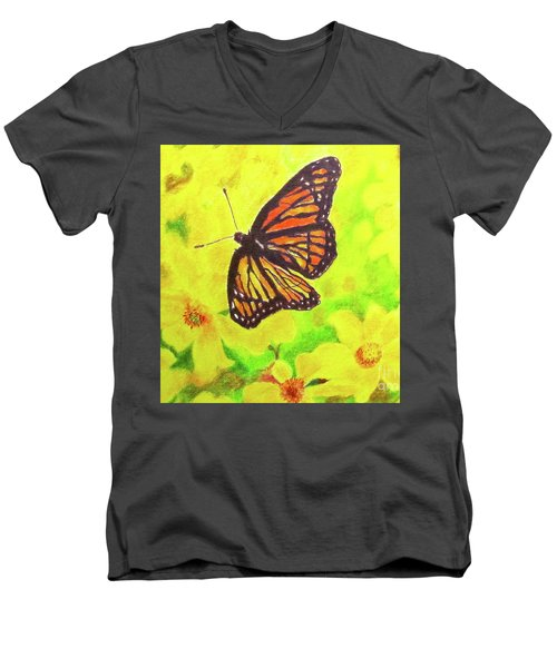 Men's V-Neck T-Shirt featuring the drawing Free To Fly by Beth Saffer