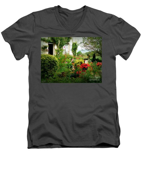French Cottage Garden Men's V-Neck T-Shirt