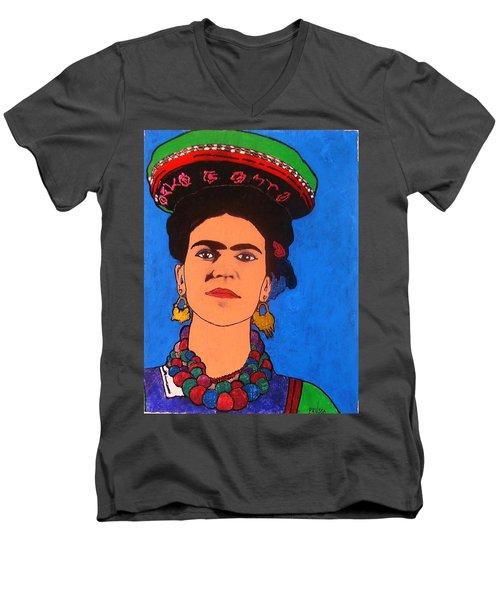 Frida Kahlo Men's V-Neck T-Shirt by Roberto Prusso