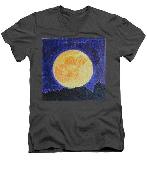 Men's V-Neck T-Shirt featuring the painting Full Moon by Sonali Gangane