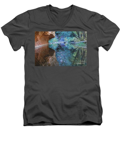 Fully Reflected Men's V-Neck T-Shirt by Heather Kirk