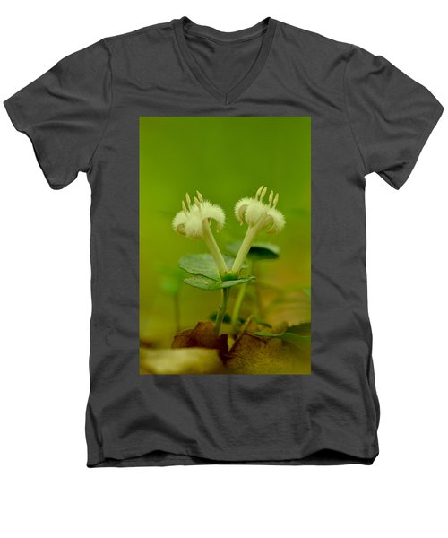 Men's V-Neck T-Shirt featuring the photograph Fuzzy Blooms by JD Grimes