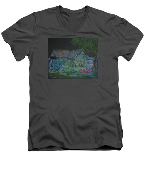 Men's V-Neck T-Shirt featuring the painting Gabby's House by Francine Frank