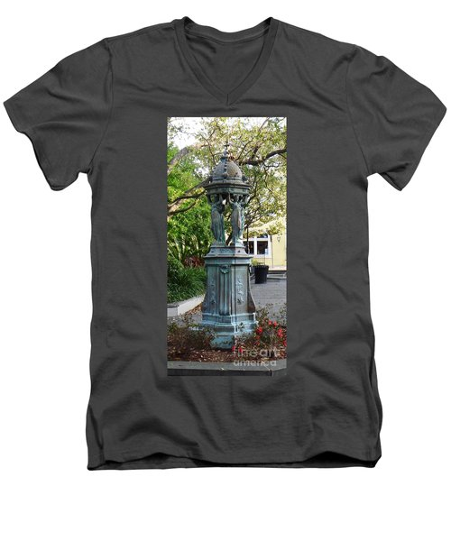 Men's V-Neck T-Shirt featuring the photograph Garden Statuary In The French Quarter by Alys Caviness-Gober