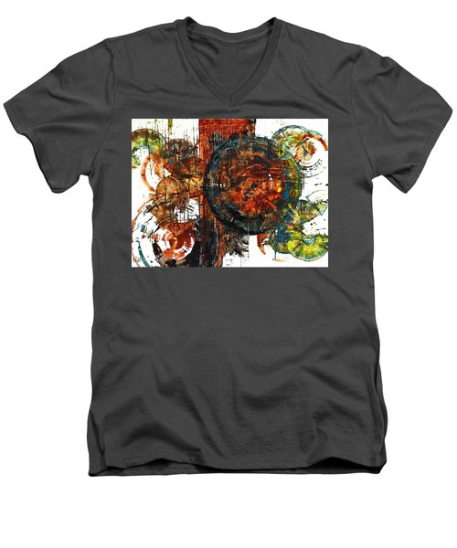 Men's V-Neck T-Shirt featuring the painting Gaurdian  02.101511 by Kris Haas