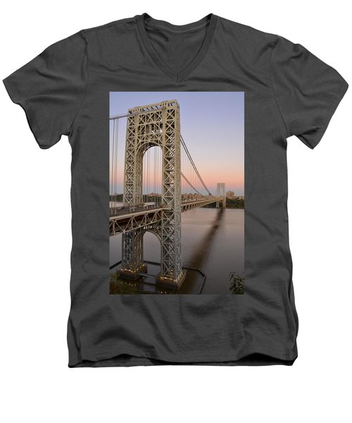 George Washington Bridge At Sunset Men's V-Neck T-Shirt