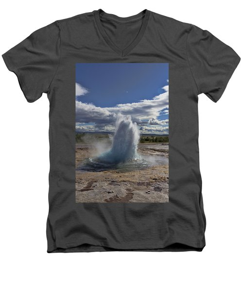 Men's V-Neck T-Shirt featuring the photograph Geysir 2 by David Gleeson