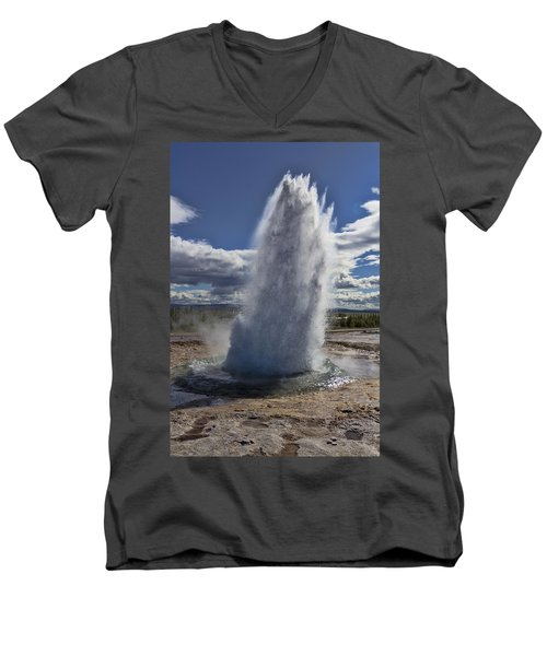 Men's V-Neck T-Shirt featuring the photograph Geysir 3 by David Gleeson