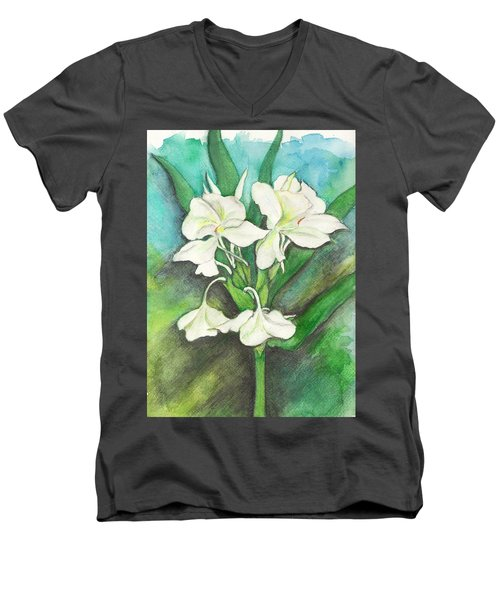 Men's V-Neck T-Shirt featuring the painting Ginger Lilies by Carla Parris