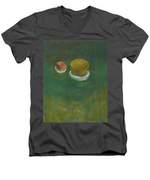 Men's V-Neck T-Shirt featuring the painting Ginger Pot by Kathleen Grace