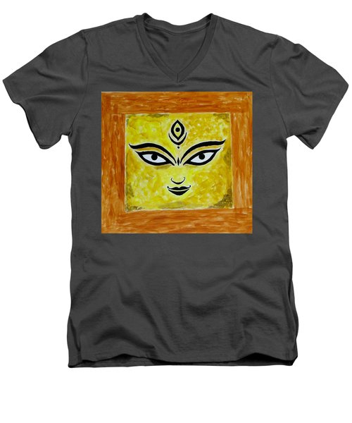 Men's V-Neck T-Shirt featuring the painting Goddess Kali by Sonali Gangane