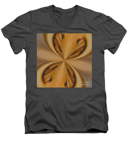Golden Butterfly Men's V-Neck T-Shirt by Marsha Heiken