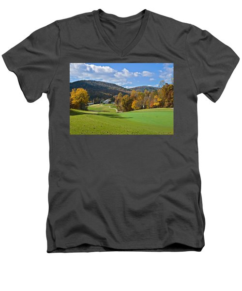 Golf Course In Autumn Men's V-Neck T-Shirt