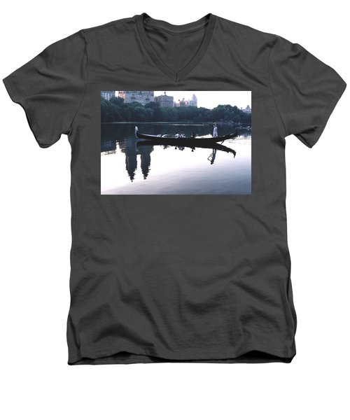Men's V-Neck T-Shirt featuring the photograph Gondola On The Central Park Lake by Tom Wurl