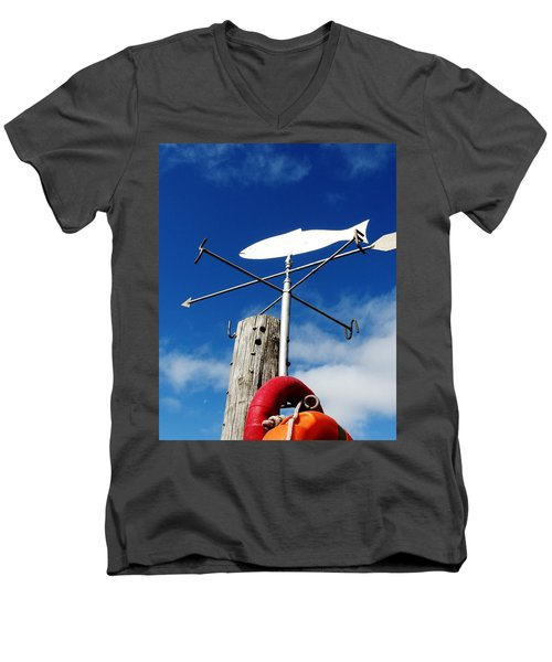 Men's V-Neck T-Shirt featuring the photograph Gone Fishing by Charlie and Norma Brock