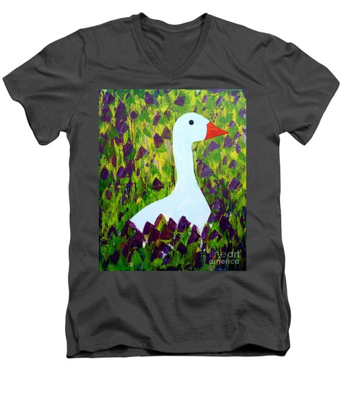 Men's V-Neck T-Shirt featuring the painting Goose by Barbara Moignard