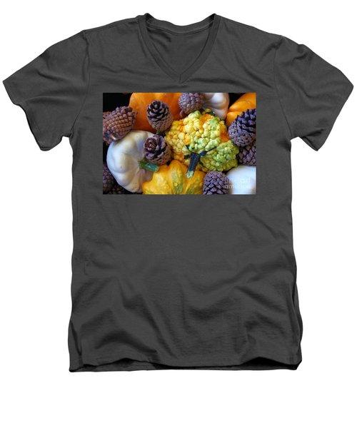 Men's V-Neck T-Shirt featuring the photograph Gourds 5 by Deniece Platt