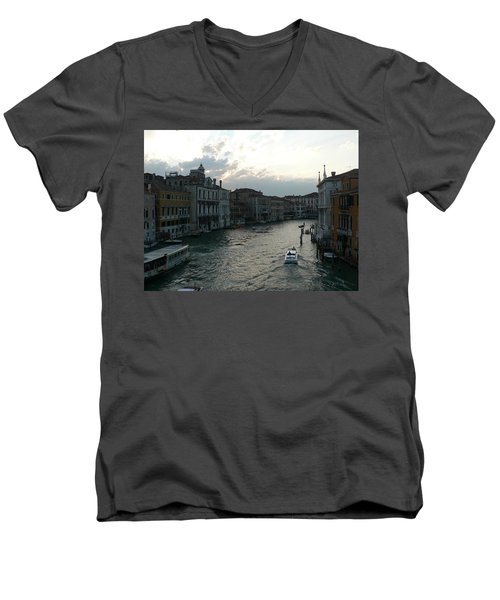 Men's V-Neck T-Shirt featuring the photograph Grand Canal At Dusk by Laurel Best