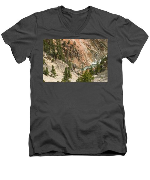 Men's V-Neck T-Shirt featuring the photograph Grand Canyon And Yellowstone River by Living Color Photography Lorraine Lynch