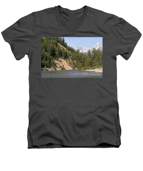 Men's V-Neck T-Shirt featuring the photograph Grand Tetons From Snake River by Living Color Photography Lorraine Lynch