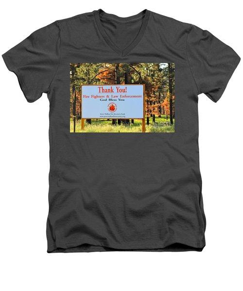Gratitude Men's V-Neck T-Shirt by Pamela Walrath