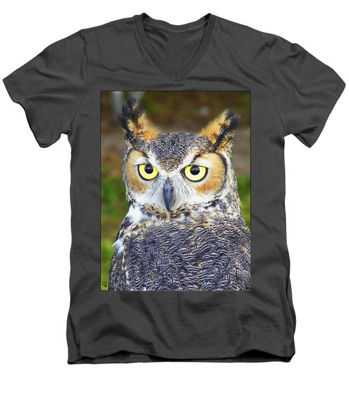 Men's V-Neck T-Shirt featuring the photograph Great Horned Owl by Barbara Middleton